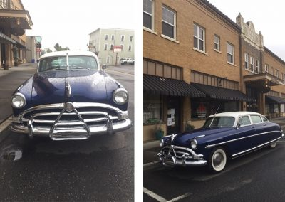 Classic car in front of the vintage Hotel Cathlamet on Main street